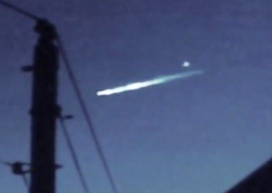 Falling object ejects something over the California sky