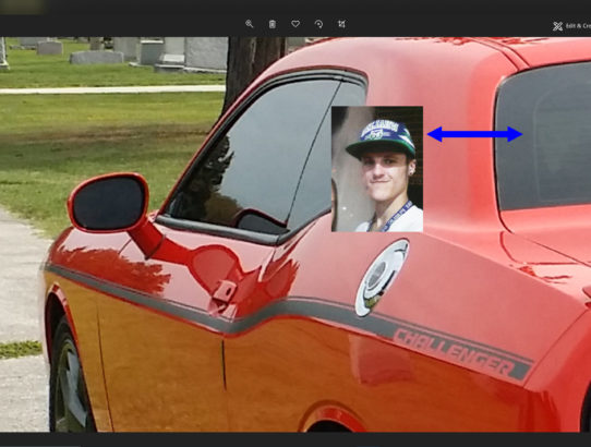 My Deceased son, Jeremy Orion's apparition, appeared within a photo of my car